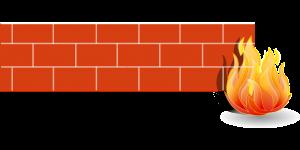 firewall, fire, brick